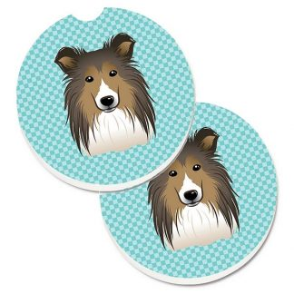 Shetland Sheepdog Car Coasters - Blue (Set of 2)
