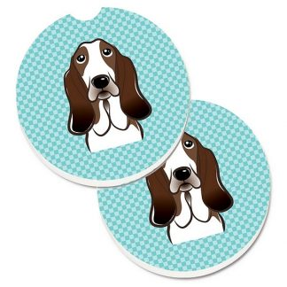 Basset Hound Car Coasters - Blue (Set of 2)