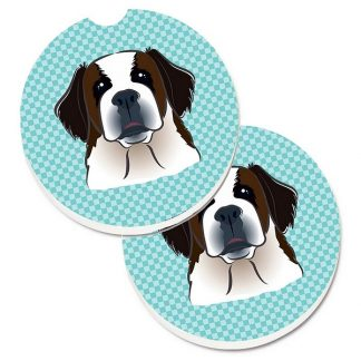 Saint Bernard Car Coasters - Blue (Set of 2)