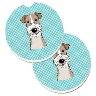 Wire Fox Terrier Car Coasters - Blue (Set of 2)