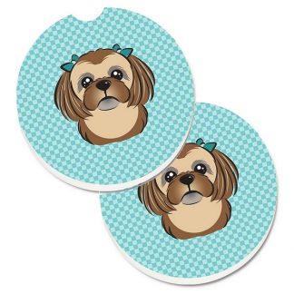 Shih Tzu Car Coasters (Brown) - Blue (Set of 2)