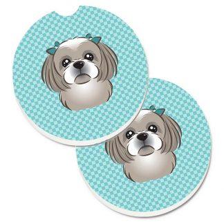 Shih Tzu Car Coasters (Grey) - Blue (Set of 2)
