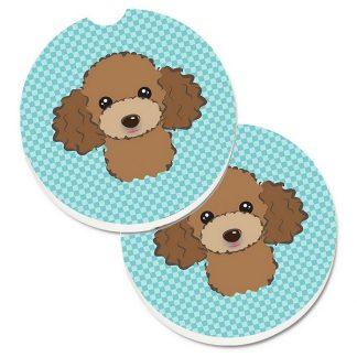 Chocolate Poodle Car Coasters - Blue (Set of 2)