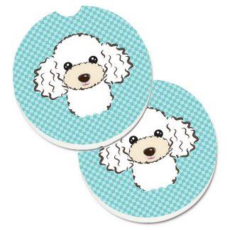 White Poodle Car Coasters - Blue (Set of 2)