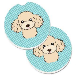 Apricot Poodle Car Coasters - Blue (Set of 2)