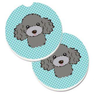 Silver Poodle Car Coasters - Blue (Set of 2)