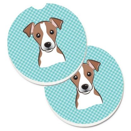 Jack Russell Terrier Car Coasters - Blue (Set of 2)