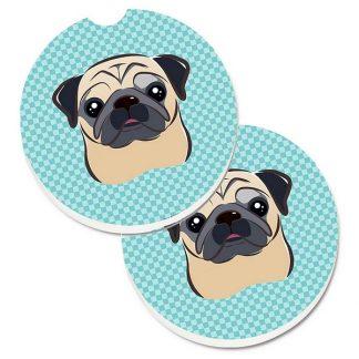 Pug Car Coasters - Blue (Set of 2)