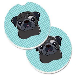 Pug Car Coasters (Black) - Blue (Set of 2)