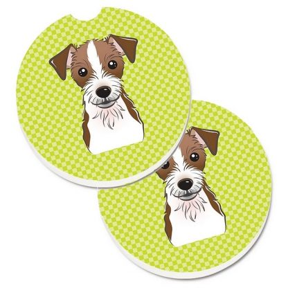 Jack Russell Terrier Car Coasters (Rough) - Green (Set of 2)