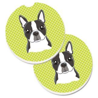 Boston Terrier Car Coasters - Green (Set of 2)