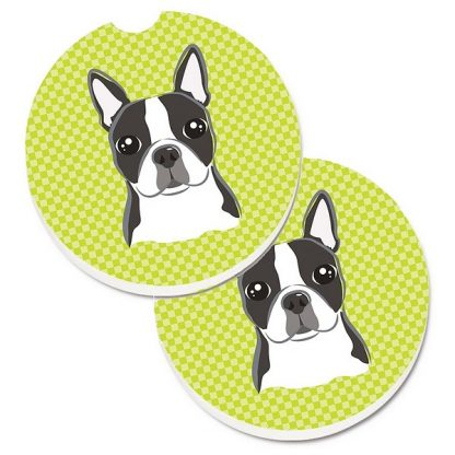 Boston Terrier Car Coasters - Green (Set of 2)
