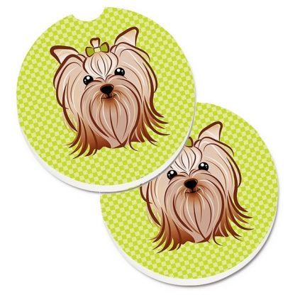 Yorkshire Terrier Car Coasters - Green (Set of 2)
