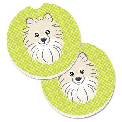 Pomeranian Car Coasters - Green (Set of 2)