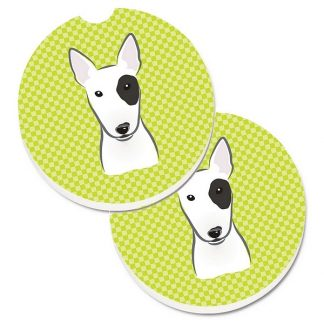 Bull Terrier Car Coasters - Green (Set of 2)