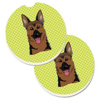 German Shepherd Car Coasters - Green (Set of 2)