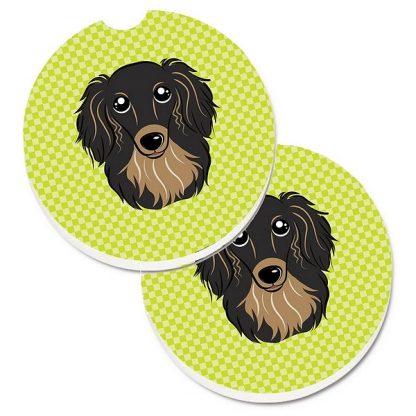 Longhaired Dachshund Car Coasters (Black Tan) - Green (Set of 2)