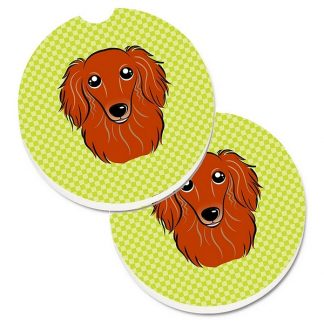Longhaired Dachshund Car Coasters (Red) - Green (Set of 2)