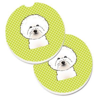 Bichon Frise Car Coasters - Green (Set of 2)
