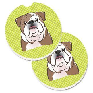 Bulldog Car Coasters - Green (Set of 2)