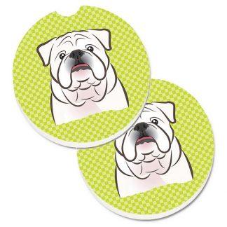 Bulldog Car Coasters (White) - Green (Set of 2)