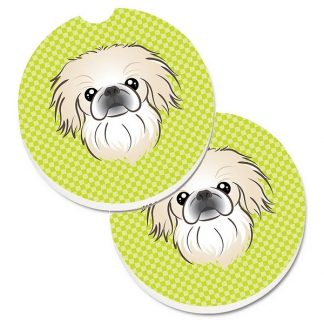 Pekingese Car Coasters - Green (Set of 2)