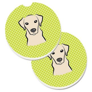 Yellow Lab Car Coasters - Green (Set of 2)