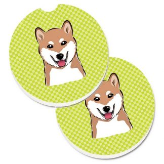 Shiba Inu Car Coasters - Green (Set of 2)