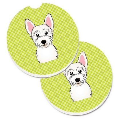 West Highland Terrier Car Coasters - Green (Set of 2)