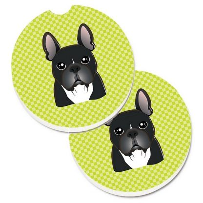 French Bulldog Car Coasters (Black) - Green (Set of 2)