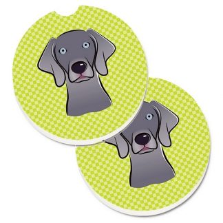 Weimaraner Car Coasters - Green (Set of 2)