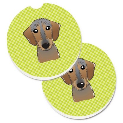 Wirehaired Dachshund Car Coasters - Green (Set of 2)