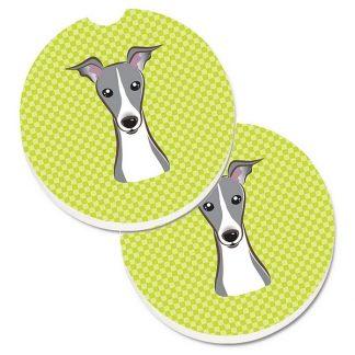 Italian Greyhound Car Coasters - Green (Set of 2)