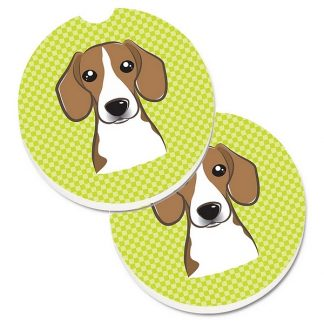 Beagle Car Coasters - Green (Set of 2)