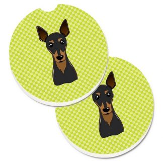 Miniature Pinscher Car Coasters - Green (Set of 2)
