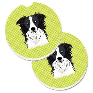 Border Collie Car Coasters - Green (Set of 2)