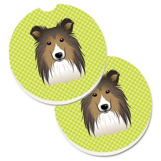 Shetland Sheepdog Car Coasters - Green (Set of 2)
