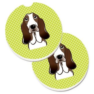 Basset Hound Car Coasters - Green (Set of 2)