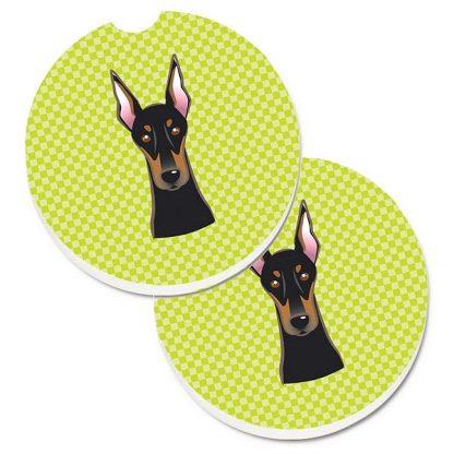 Doberman Pinscher Car Coasters - Green (Set of 2)
