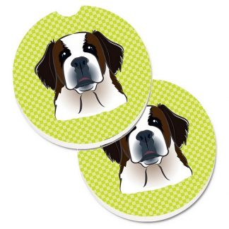 Saint Bernard Car Coasters - Green (Set of 2)