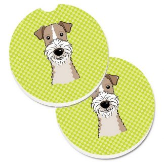 Wire Fox Terrier Car Coasters - Green (Set of 2)