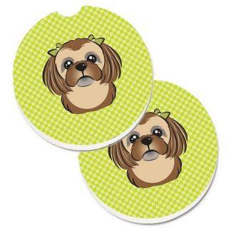 Shih Tzu Car Coasters (Brown) - Green (Set of 2)