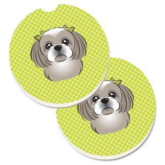 Shih Tzu Car Coasters (Grey) - Green (Set of 2)