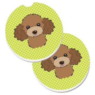 Chocolate Poodle Car Coasters - Green (Set of 2)