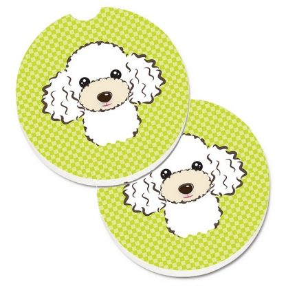 White Poodle Car Coasters - Green (Set of 2)