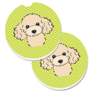 Apricot Poodle Car Coasters - Green (Set of 2)