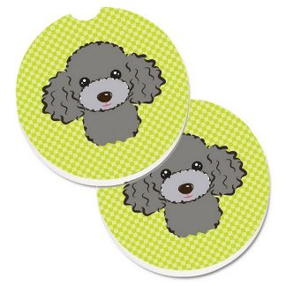 Silver Poodle Car Coasters - Green (Set of 2)