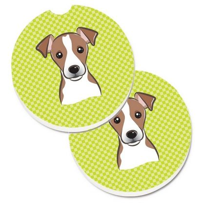 Jack Russell Terrier Car Coasters - Green (Set of 2)