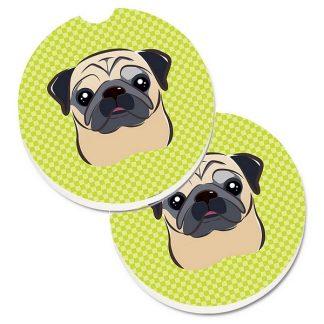 Pug Car Coasters - Green (Set of 2)