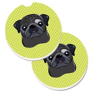 Pug Car Coasters (Black) - Green (Set of 2)